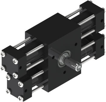 The A12 rotary actuator features light, long-lasting composite cylinders, dual racks for zero backlash, flexible options, and billions of readily available standard configurations