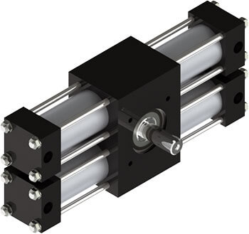 The A22 rotary actuator features a one-piece heat-treated alloy steel pinion shaft, two racks for zero backlash at end of stroke, versatile options, and billions of flexible standard configurations